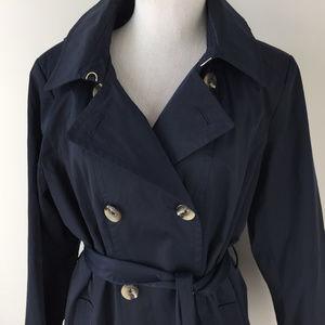 Anne Klein Jackets & Coats - Anne Klein XL Navy Blue Trench Coat Hood Excellent